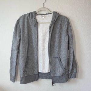 Gray zip up hooded jacket